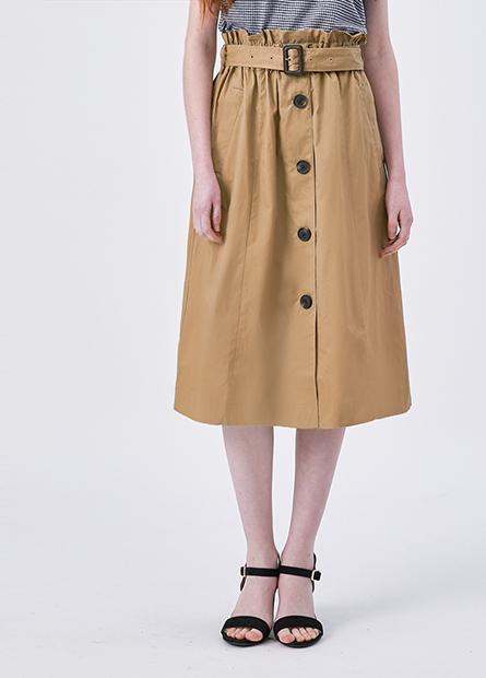 荷葉腰頭排釦長裙