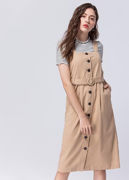吊帶排釦腰綁帶洋裝