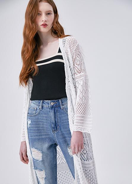 幾何鉤針披掛長版外套
