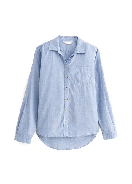 單口袋捲釦袖襯衫