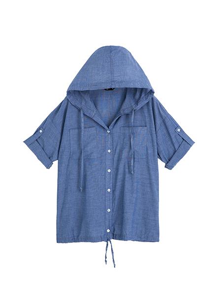口袋捲釦短袖連帽襯衫