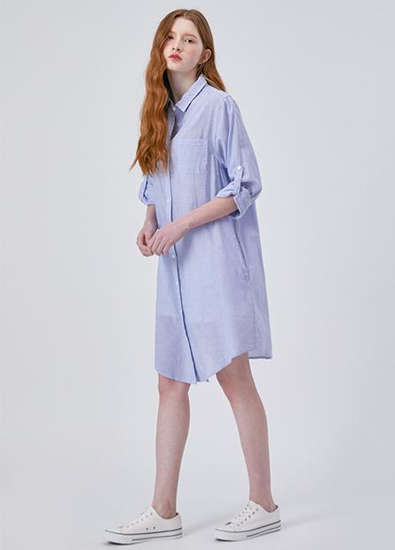 單口袋捲釦袖長版襯衫