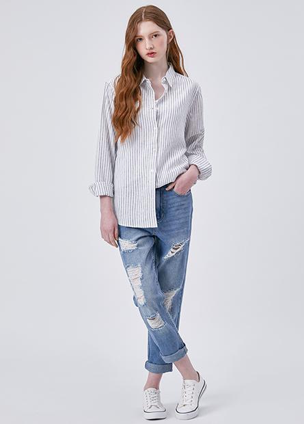 棉麻長袖襯衫