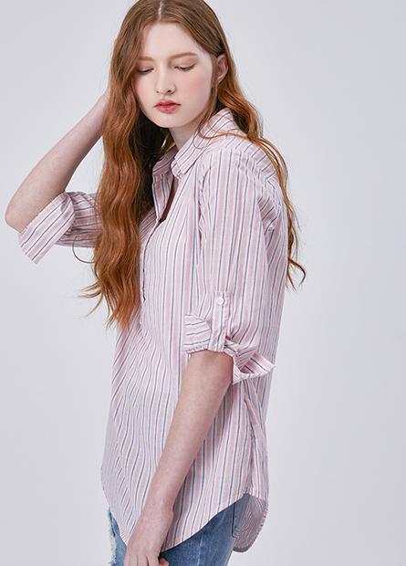 襯衫V領捲釦袖上衣
