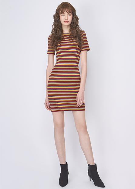 多色條紋短袖合身洋裝