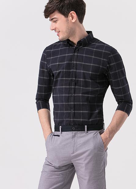 Slim Fit鈕釦領七分袖襯衫