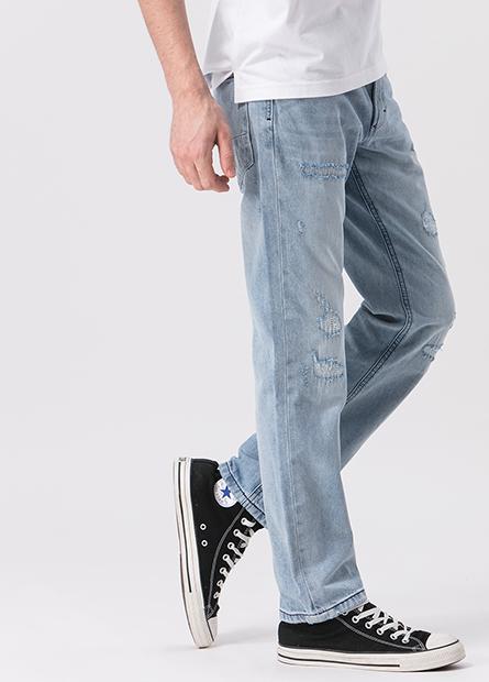 Slim Fit補丁牛仔長褲