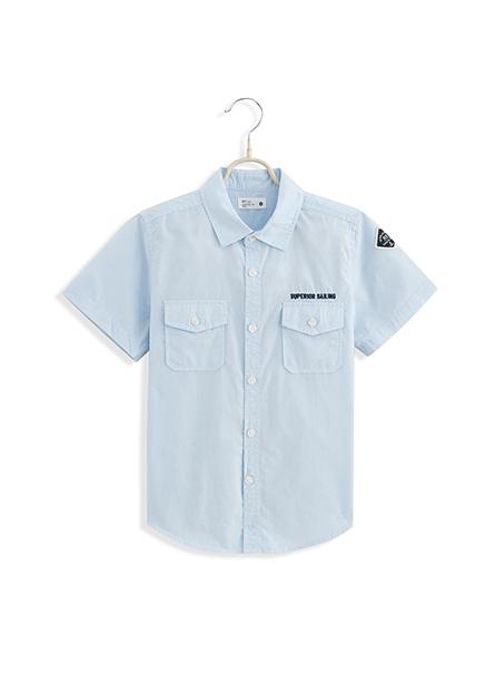 男童雙口袋繡章字襯衫