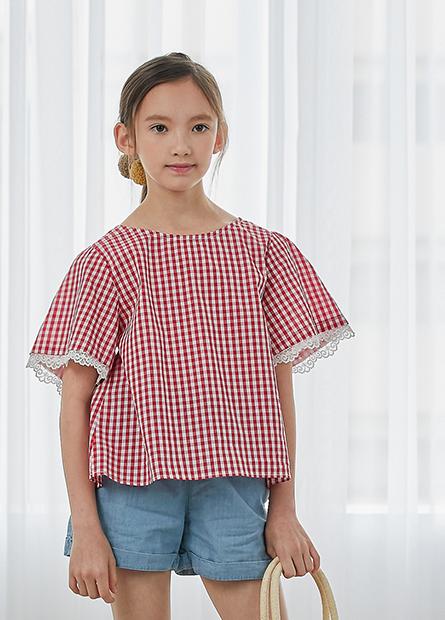 女童格紋蕾絲短袖上衣
