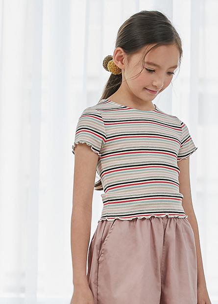 女童素色捲邊短袖上衣