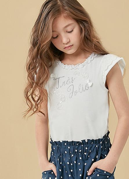 女童花朵蕾絲袖印花T