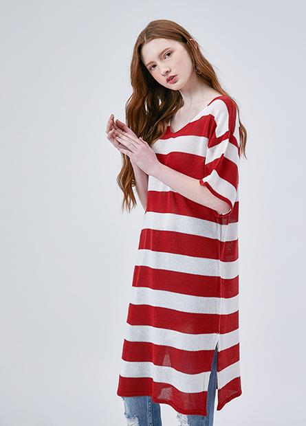V領落肩條紋長版洋裝