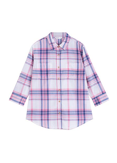 雙口袋捲釦七分袖襯衫