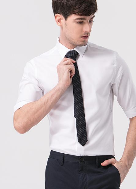 Slim Fit附領帶五分袖襯衫