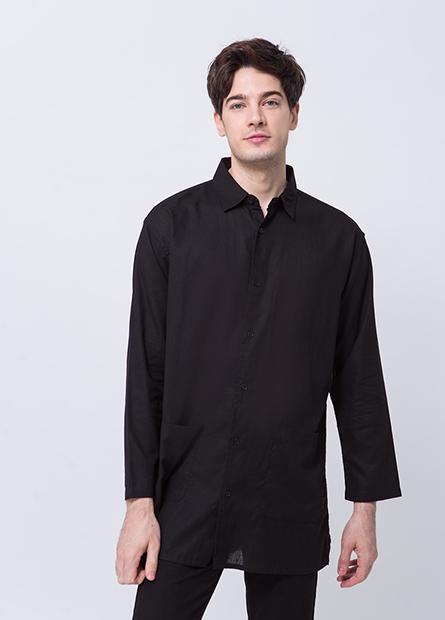 流行大口袋長版襯衫