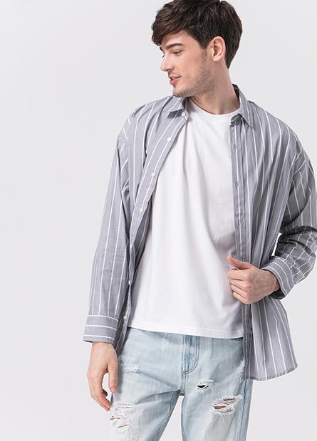 條紋落肩側開衩襯衫