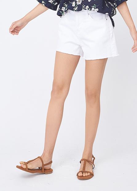素色鬚邊牛仔短褲