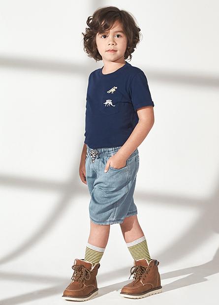 童腰抽繩牛仔短褲