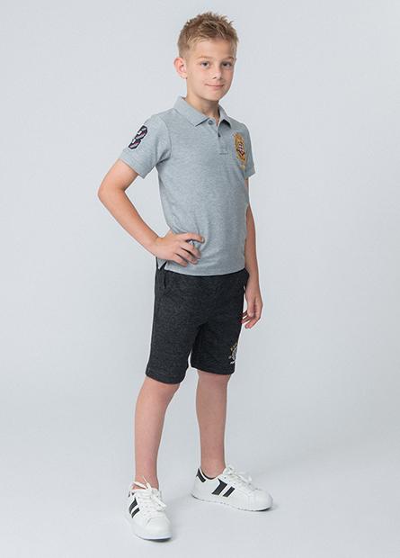 男童左側印花毛圈短褲