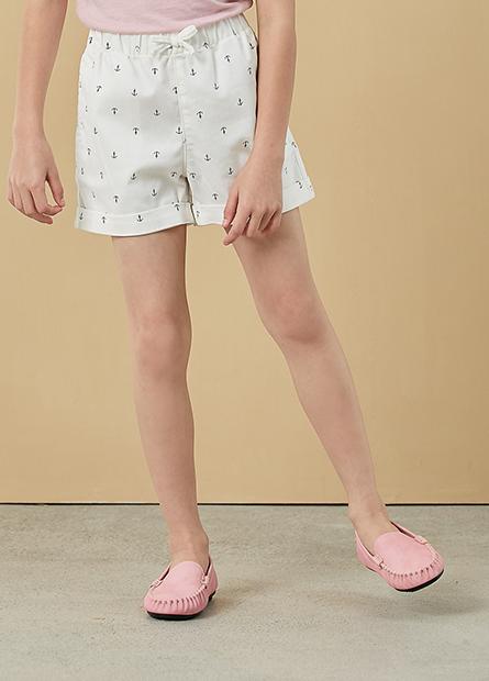 女童鬆緊腰頭反摺短褲