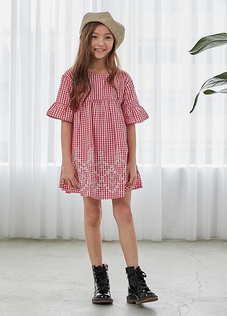 女童條紋高腰繡圖洋裝