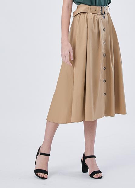 素色排釦腰帶長裙