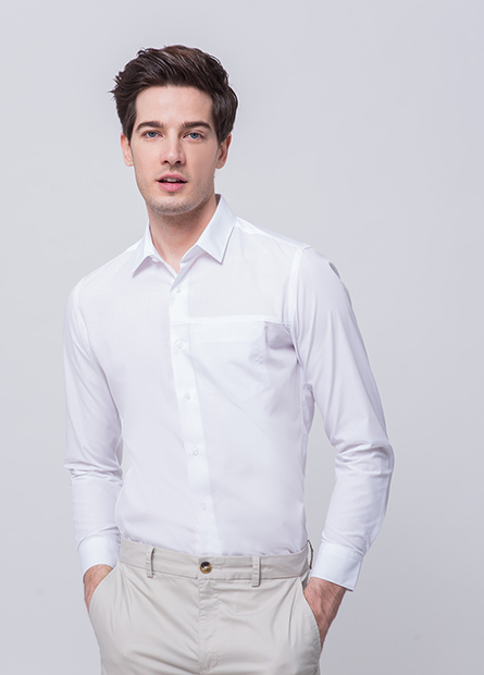 Slim Fit單口袋長袖襯衫