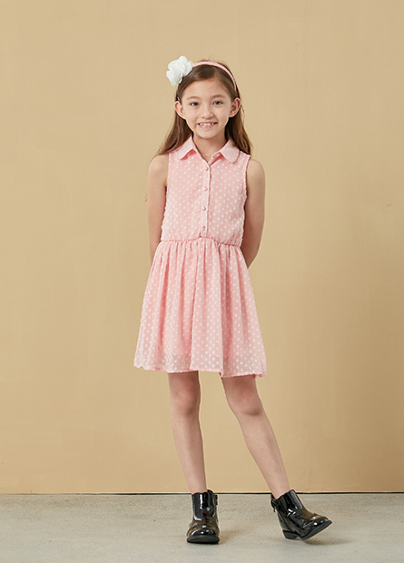 女童襯衫領無袖洋裝