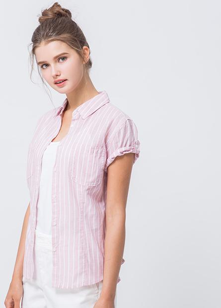雙口袋捲釦短袖襯衫