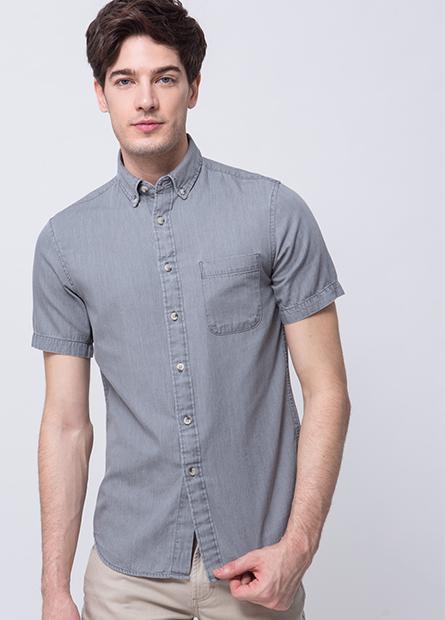 修身鈕釦領牛仔襯衫