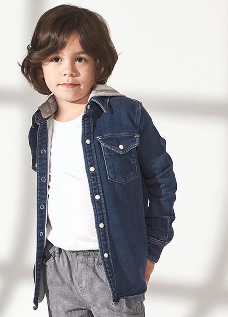 男童針織連帽牛仔襯衫