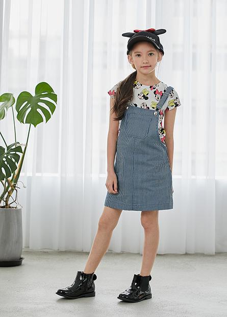 女童條紋吊帶短裙