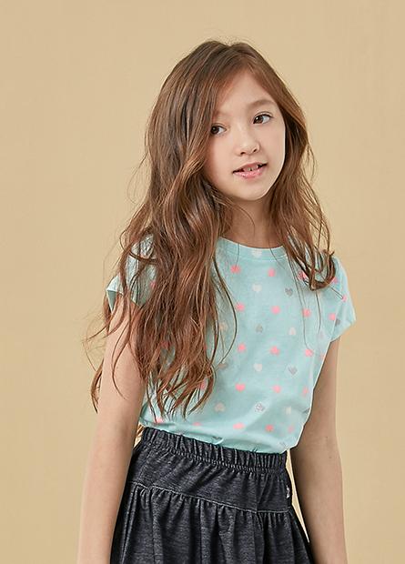 女童條紋印花圓領上衣