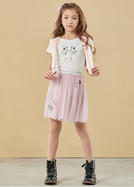 女童芭蕾女孩泡泡袖T