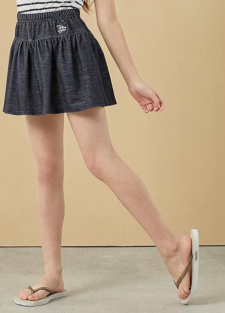 女童拼接繡字褲裙