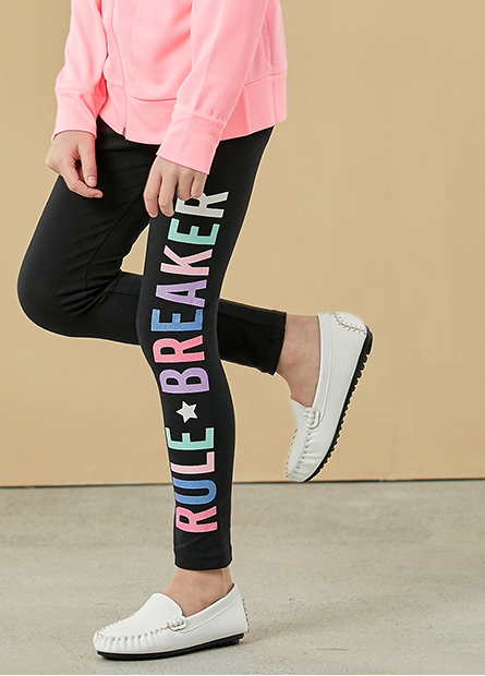 女童配條字母內搭長褲