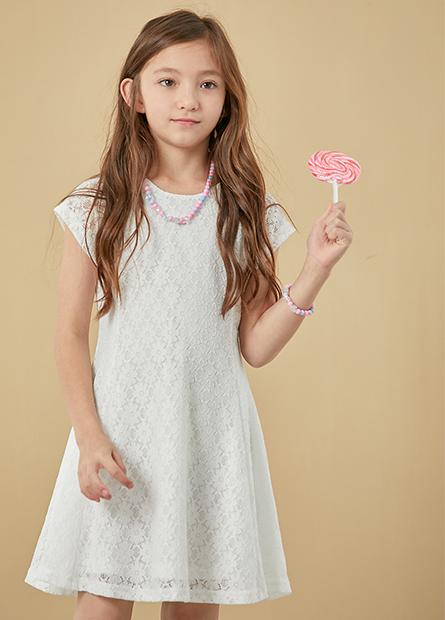 女童縷空蕾絲傘襬洋裝