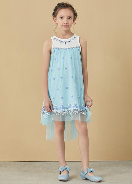 女童寶石紗裙拼接洋裝