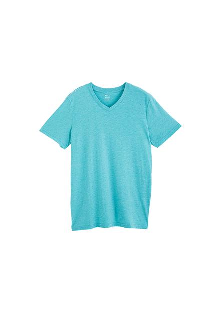 素色V領短袖上衣