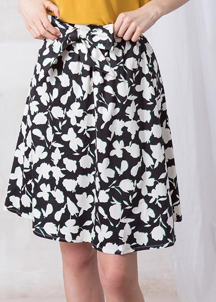 印花腰綁結中長圓裙