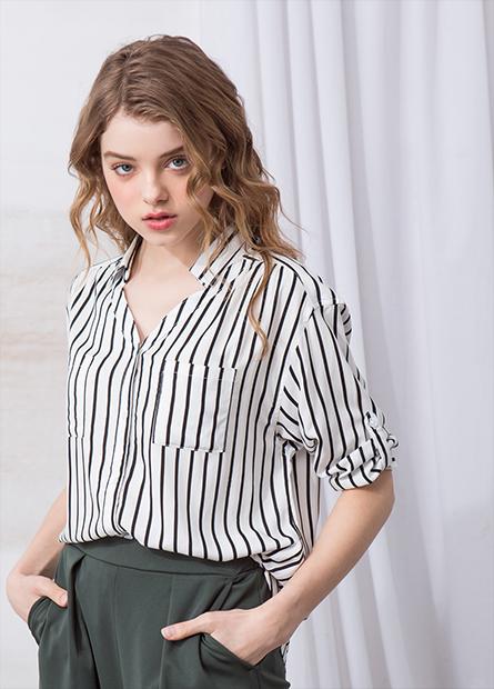 V領雙口袋襯衫