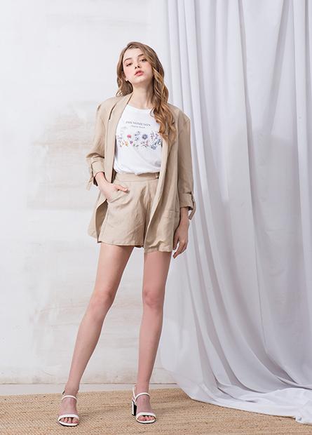 亞麻混紡西裝外套