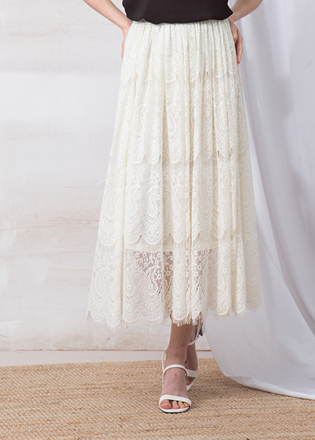 睫毛縷空蕾絲長裙