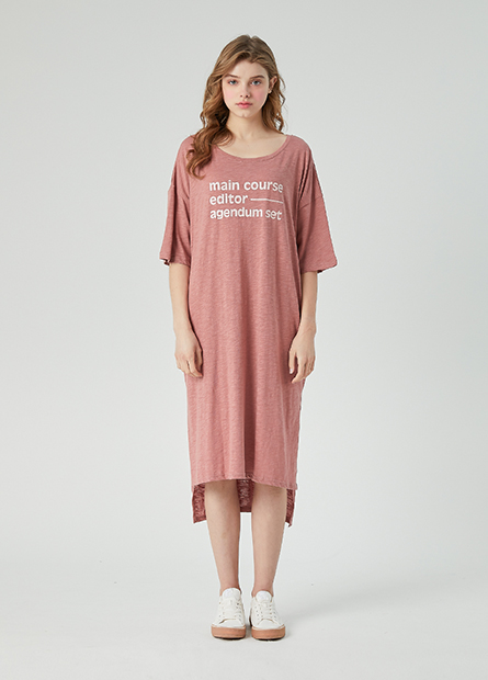 字母側開衩長版洋裝