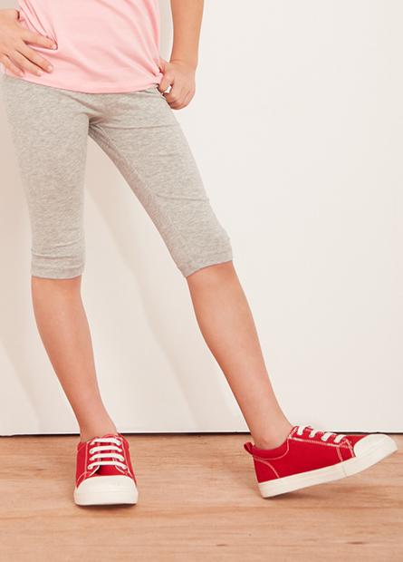 女童素色七分內搭長褲