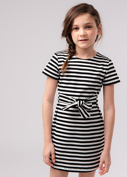 女童浮紋腰綁帶洋裝