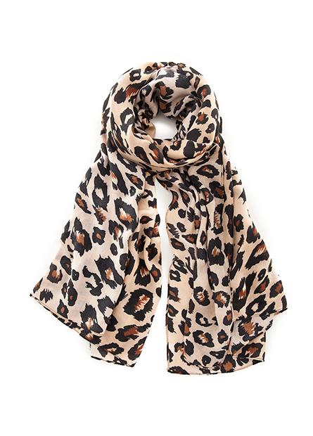 豹紋圓點印花絲巾