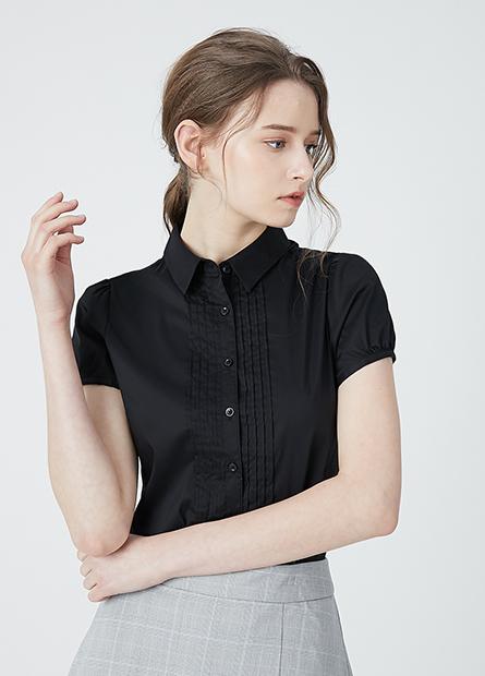 商務壓摺短袖襯衫