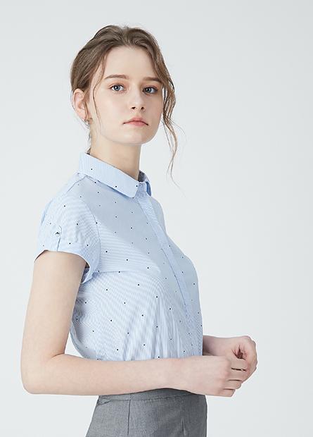 印花反摺捲釦短袖襯衫