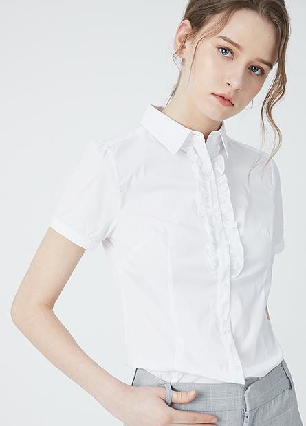 商務門襟荷葉短袖襯衫